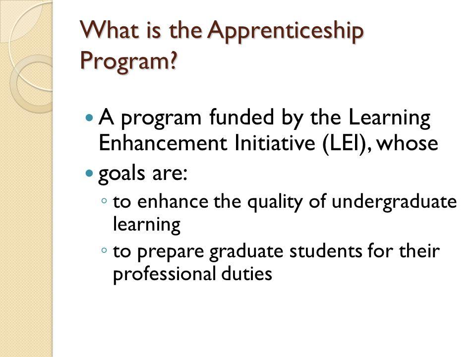 What is the Apprenticeship Program.