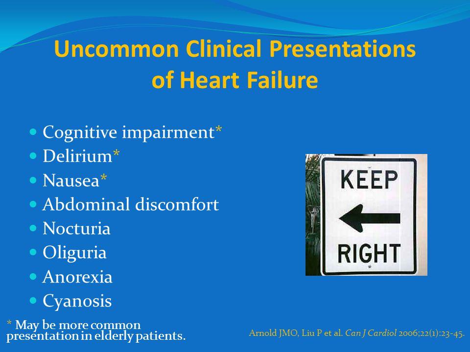 Uncommon Clinical Presentations of Heart Failure Cognitive impairment* Delirium* Nausea* Abdominal discomfort Nocturia Oliguria Anorexia Cyanosis Arno