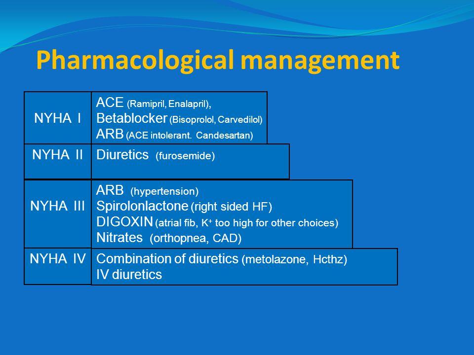 Pharmacological management ACE (Ramipril, Enalapril), Betablocker (Bisoprolol, Carvedilol) ARB (ACE intolerant. Candesartan) Diuretics (furosemide) NY