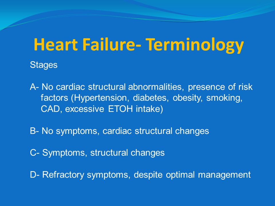 …… more terminology New York Heart Association Classification I- No symptoms II- Symptoms with moderate activity III- Symptoms with regular activity IV- Symptoms at rest