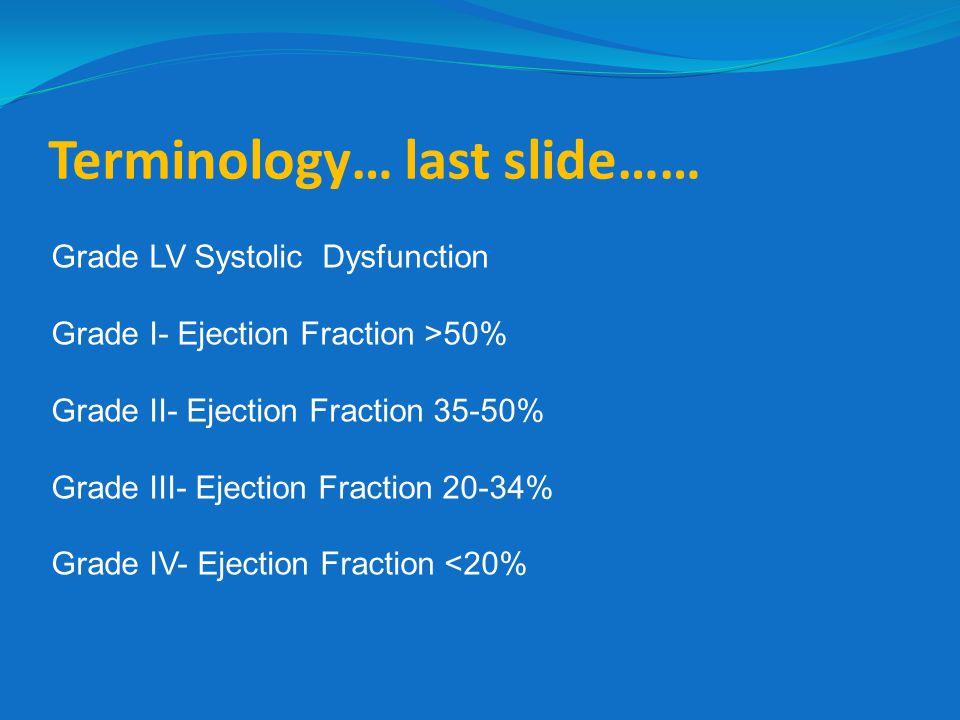 Terminology… last slide…… Grade LV Systolic Dysfunction Grade I- Ejection Fraction >50% Grade II- Ejection Fraction 35-50% Grade III- Ejection Fractio