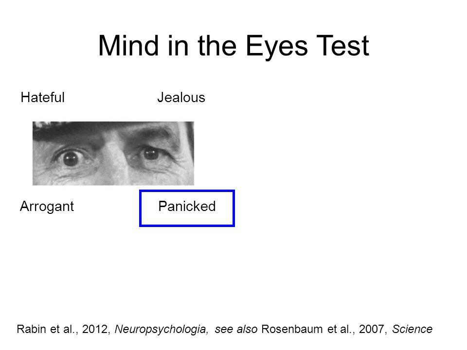 Mind in the Eyes Test Hateful Jealous Arrogant Panicked Rabin et al., 2012, Neuropsychologia, see also Rosenbaum et al., 2007, Science