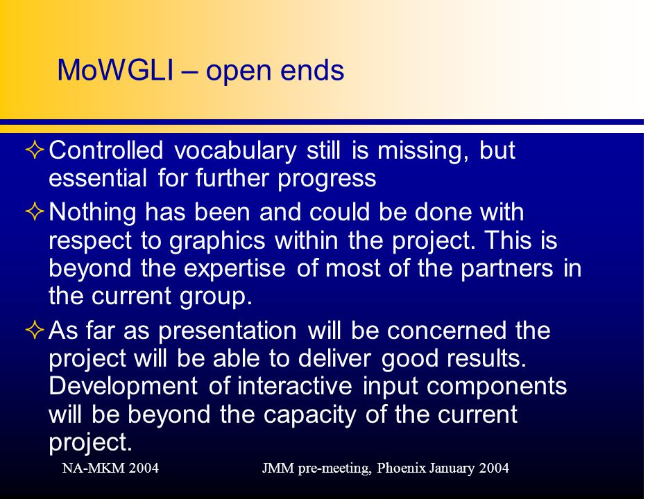 NA-MKM 2004JMM pre-meeting, Phoenix January 2004 MoWGLI – open ends ²Controlled vocabulary still is missing, but essential for further progress ²Nothing has been and could be done with respect to graphics within the project.