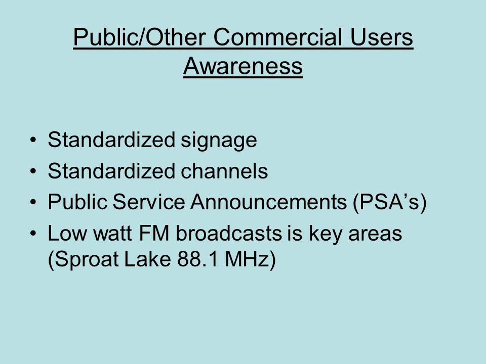 Public/Other Commercial Users Awareness Standardized signage Standardized channels Public Service Announcements (PSA's) Low watt FM broadcasts is key