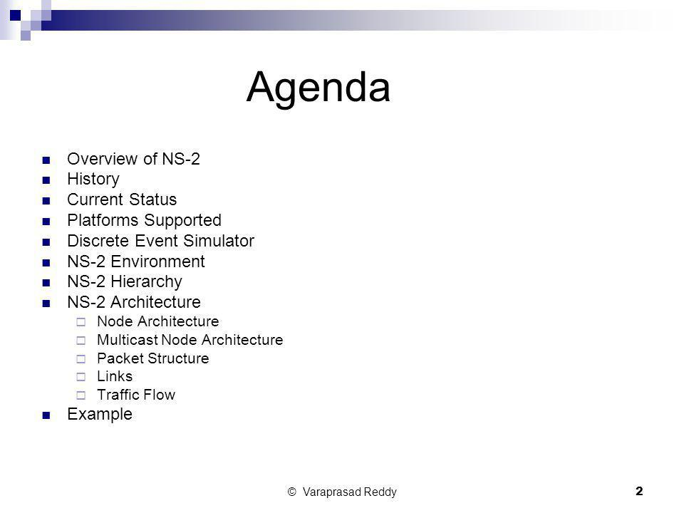 © Varaprasad Reddy2 Agenda Overview of NS-2 History Current Status Platforms Supported Discrete Event Simulator NS-2 Environment NS-2 Hierarchy NS-2 A