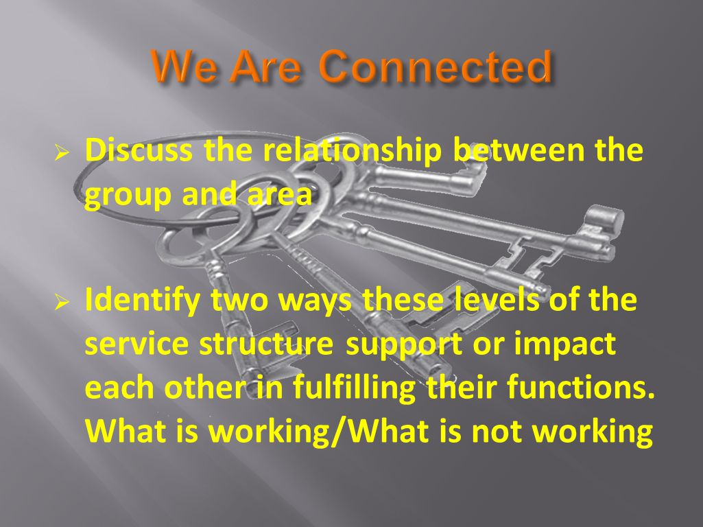  Discuss the relationship between the group and area  Identify two ways these levels of the service structure support or impact each other in fulfilling their functions.
