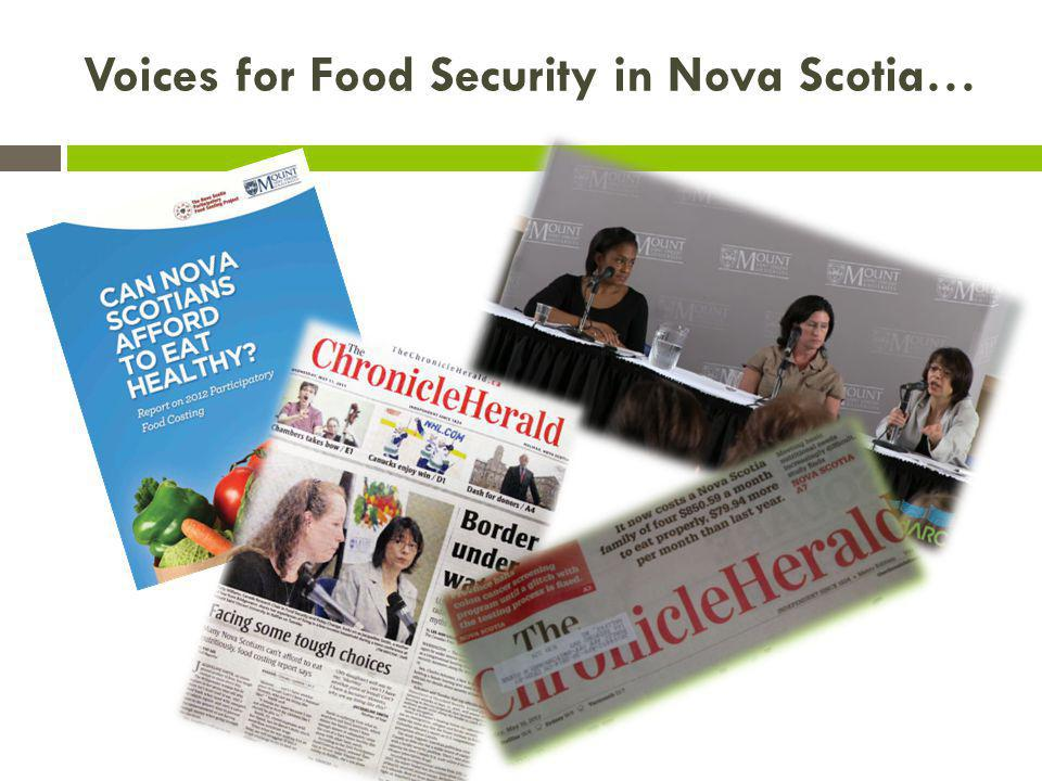 Voices for Food Security in Nova Scotia…