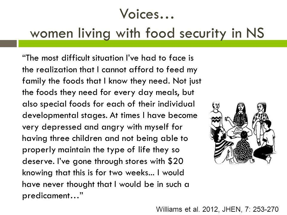 Voices… women living with food security in NS The most difficult situation I've had to face is the realization that I cannot afford to feed my family the foods that I know they need.