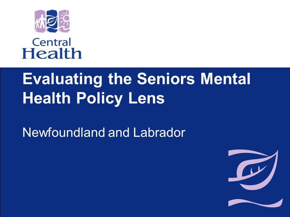 Evaluating the Seniors Mental Health Policy Lens Newfoundland and Labrador