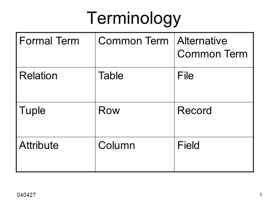 0404271 Terminology Formal TermCommon TermAlternative Common Term RelationTableFile TupleRowRecord AttributeColumnField