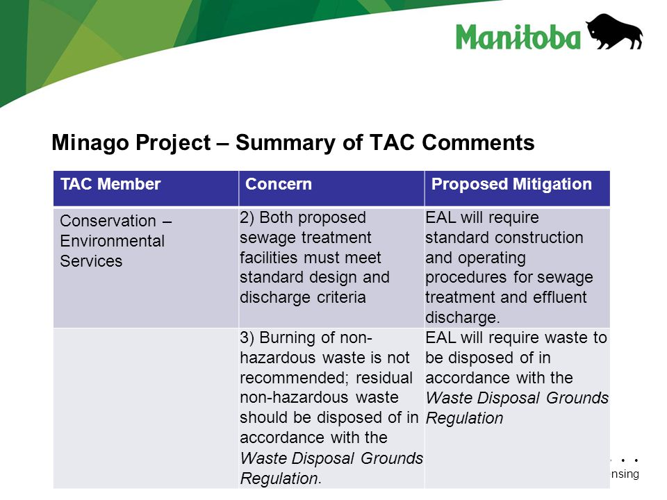 Manitoba Conservation Department Name/Presentation Title Manitoba Conservation/Environmental Assessment and Licensing Minago Project – Summary of TAC Comments TAC MemberConcernProposed Mitigation Conservation – Environmental Services 2) Both proposed sewage treatment facilities must meet standard design and discharge criteria EAL will require standard construction and operating procedures for sewage treatment and effluent discharge.
