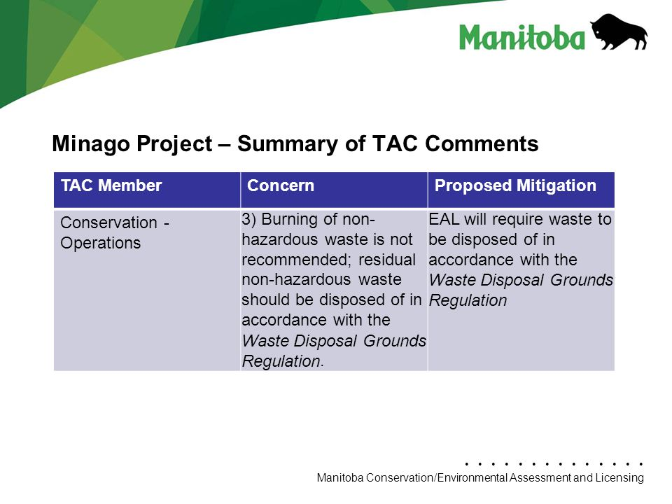 Manitoba Conservation Department Name/Presentation Title Manitoba Conservation/Environmental Assessment and Licensing Minago Project – Summary of TAC Comments TAC MemberConcernProposed Mitigation Conservation - Operations 3) Burning of non- hazardous waste is not recommended; residual non-hazardous waste should be disposed of in accordance with the Waste Disposal Grounds Regulation.
