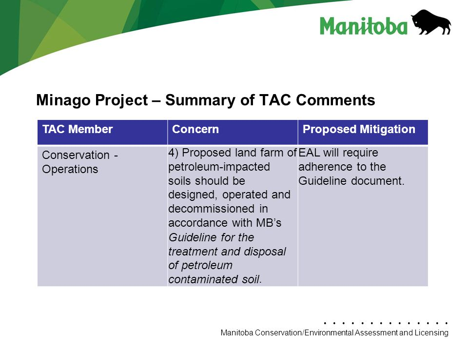Manitoba Conservation Department Name/Presentation Title Manitoba Conservation/Environmental Assessment and Licensing Minago Project – Summary of TAC Comments TAC MemberConcernProposed Mitigation Conservation - Operations 4) Proposed land farm of petroleum-impacted soils should be designed, operated and decommissioned in accordance with MB's Guideline for the treatment and disposal of petroleum contaminated soil.