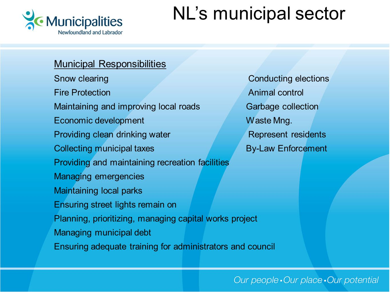 Municipal Responsibilities Snow clearing Conducting elections Fire Protection Animal control Maintaining and improving local roads Garbage collection Economic development Waste Mng.