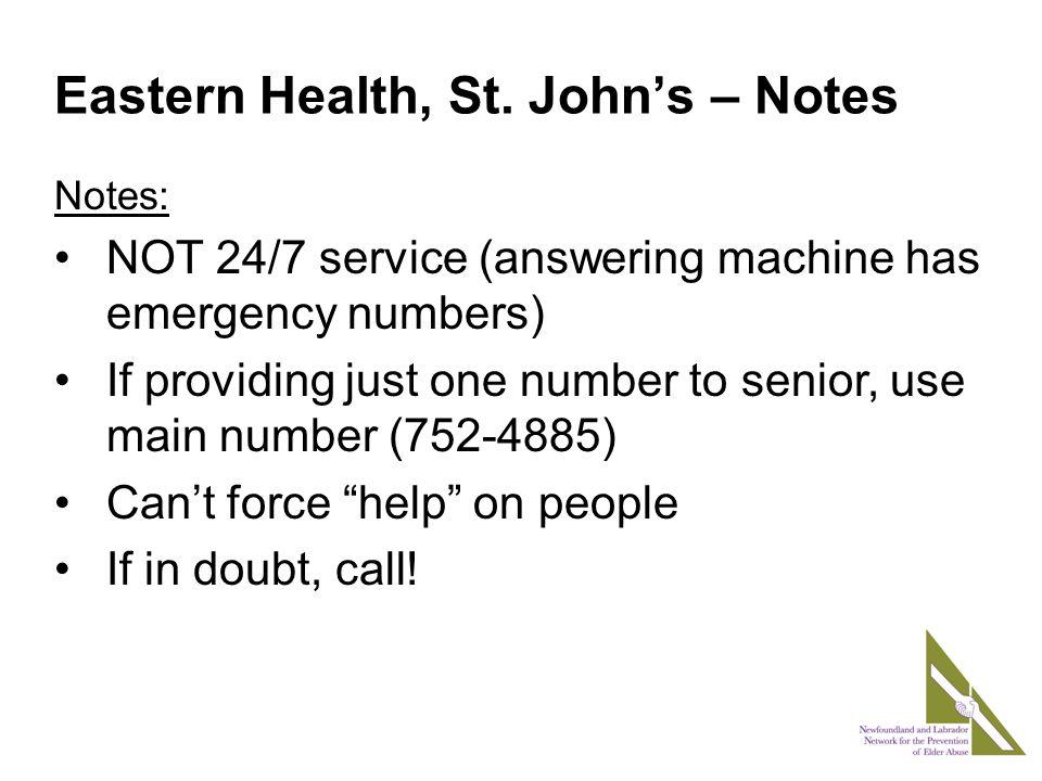 Eastern Health, St.