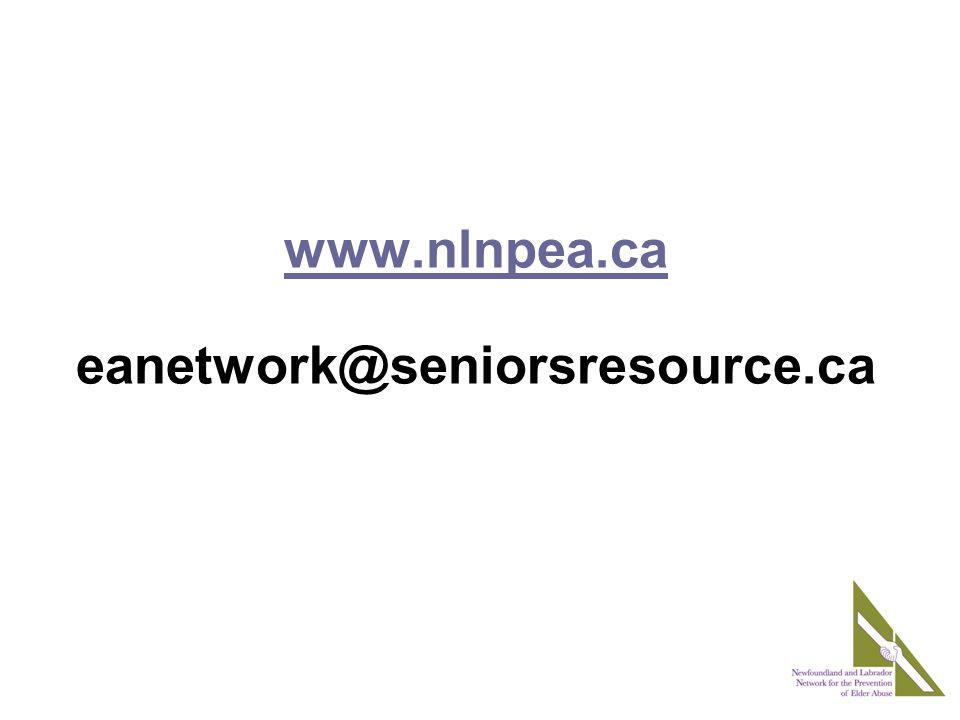www.nlnpea.ca www.nlnpea.ca eanetwork@seniorsresource.ca