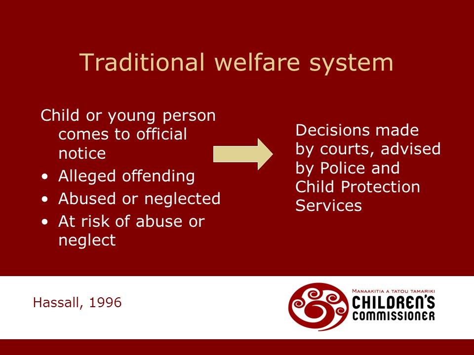 Traditional welfare system Child or young person comes to official notice Alleged offending Abused or neglected At risk of abuse or neglect Decisions