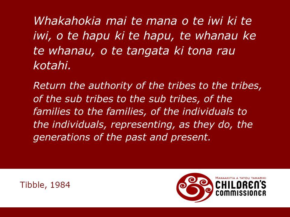 Whakahokia mai te mana o te iwi ki te iwi, o te hapu ki te hapu, te whanau ke te whanau, o te tangata ki tona rau kotahi.