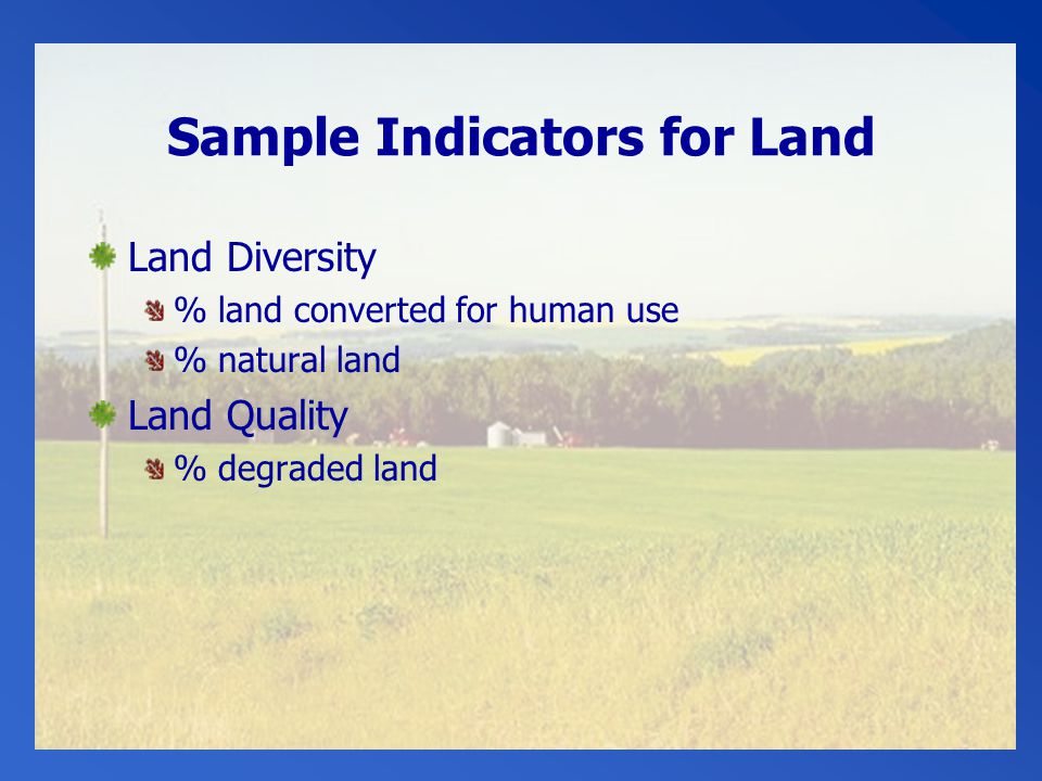 Sample Indicators for Land Land Diversity % land converted for human use % natural land Land Quality % degraded land