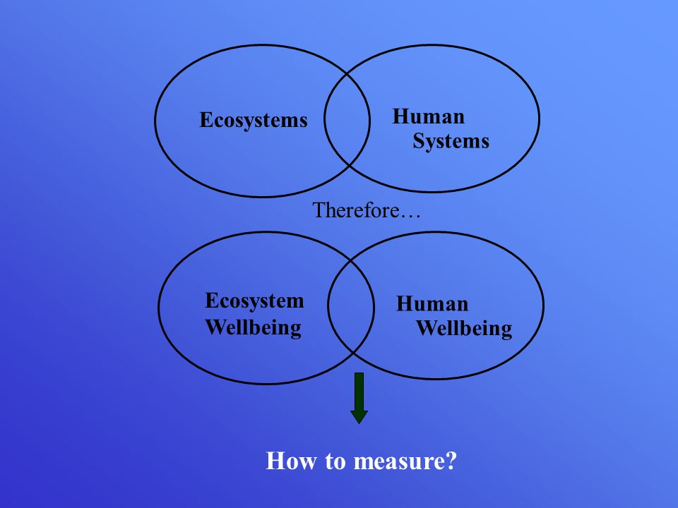 Ecosystem Wellbeing Human Wellbeing Ecosystems Human Systems Therefore… How to measure
