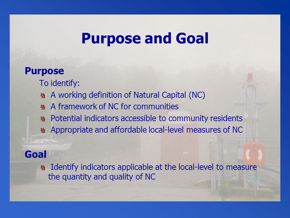Purpose and Goal Purpose To identify: A working definition of Natural Capital (NC) A framework of NC for communities Potential indicators accessible to community residents Appropriate and affordable local-level measures of NC Goal Identify indicators applicable at the local-level to measure the quantity and quality of NC