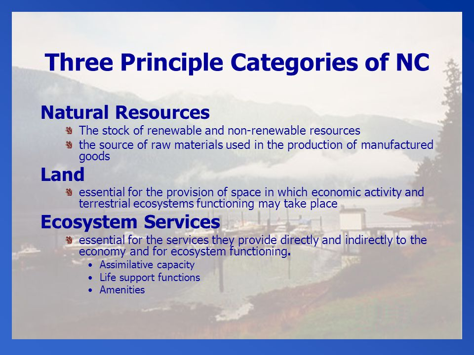 Three Principle Categories of NC Natural Resources The stock of renewable and non-renewable resources the source of raw materials used in the production of manufactured goods Land essential for the provision of space in which economic activity and terrestrial ecosystems functioning may take place Ecosystem Services essential for the services they provide directly and indirectly to the economy and for ecosystem functioning.