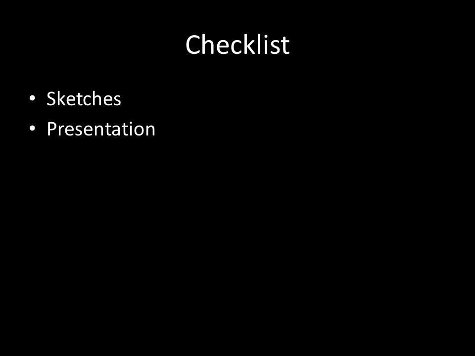 Checklist Sketches Presentation