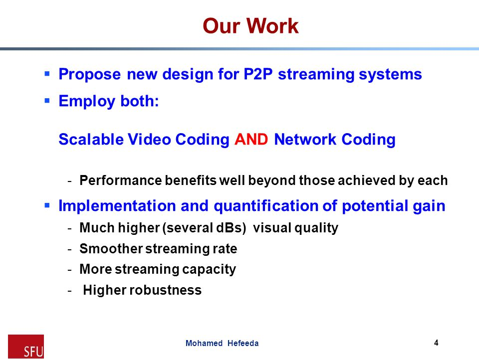 Mohamed Hefeeda Evaluation: Setup  Comparing proposed system (SVC+NC) against -Scalable video coding (SVC) -Single layer video streams with network coding (SL+NC) -Single layer streams (SL)  Performance metrics -Average streaming rate -Average streaming quality -Number of streaming requests served -Fraction of late frames 15