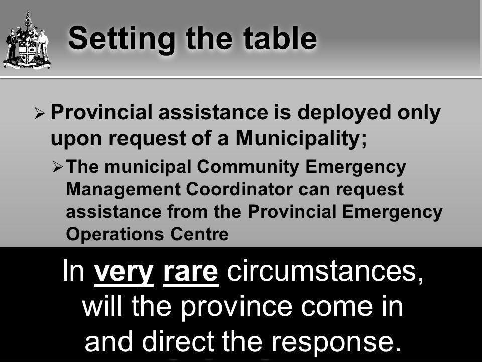 Emergency Management Unit  Provincial assistance is deployed only upon request of a Municipality;  The municipal Community Emergency Management Coordinator can request assistance from the Provincial Emergency Operations Centre  A municipality cannot directly request federal assistance, but;  The Province can go to the Federal level to get that assistance for a municipality In very rare circumstances, will the province come in and direct the response.