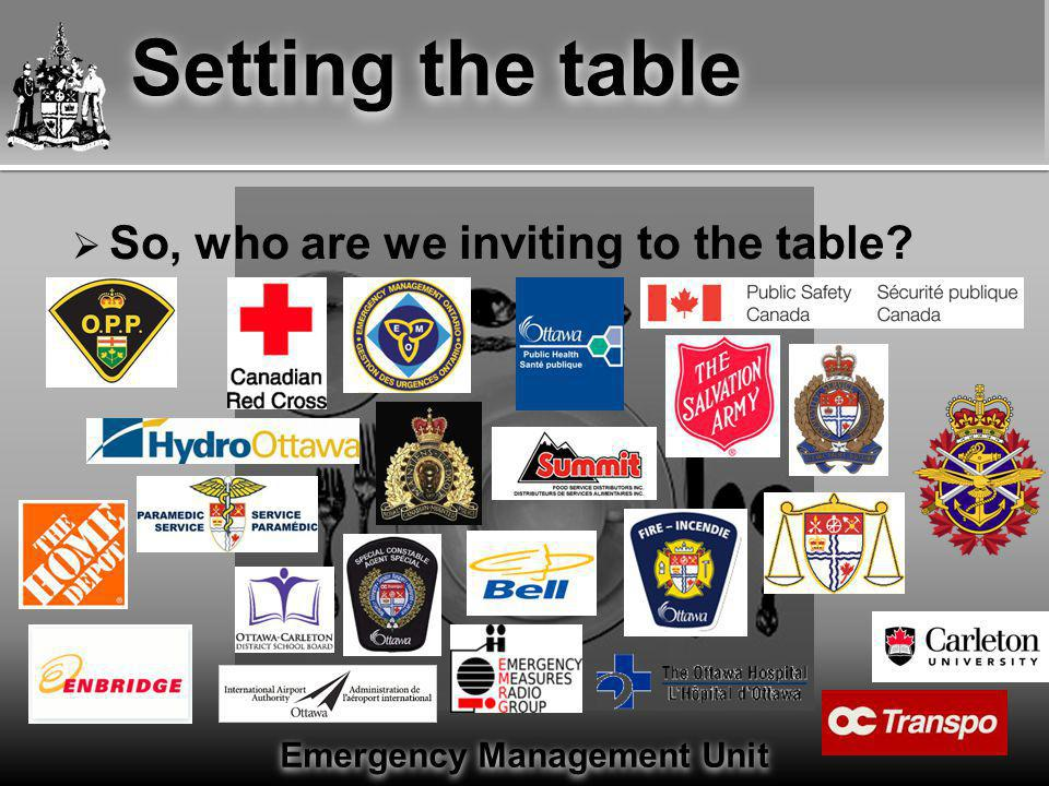 Emergency Management Unit Setting the table  Invite them to the table......and see what they bring.