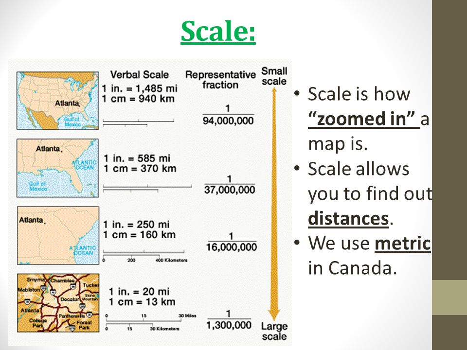 "Scale: Scale is how ""zoomed in"" a map is. Scale allows you to find out distances. We use metric in Canada."