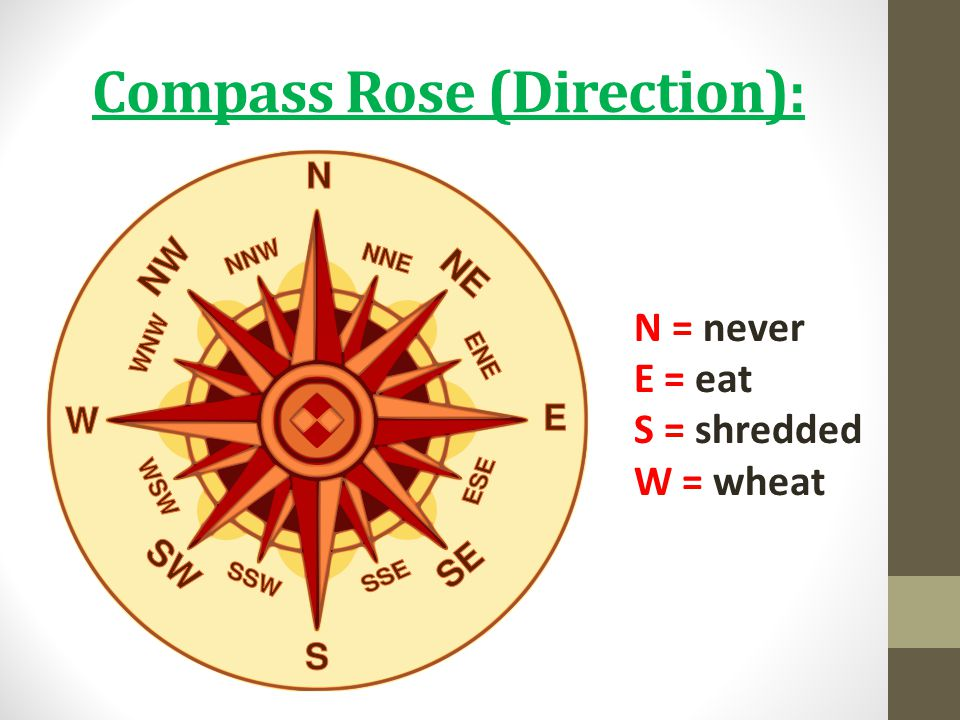 Compass Rose (Direction): N = never E = eat S = shredded W = wheat