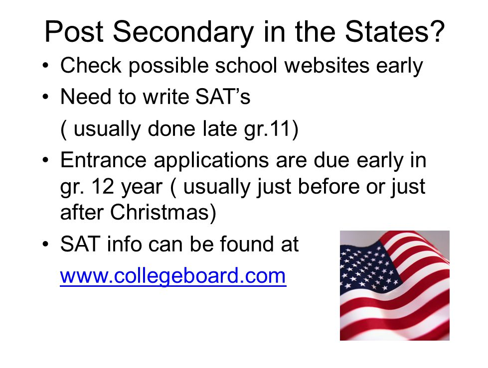 Post Secondary in the States.