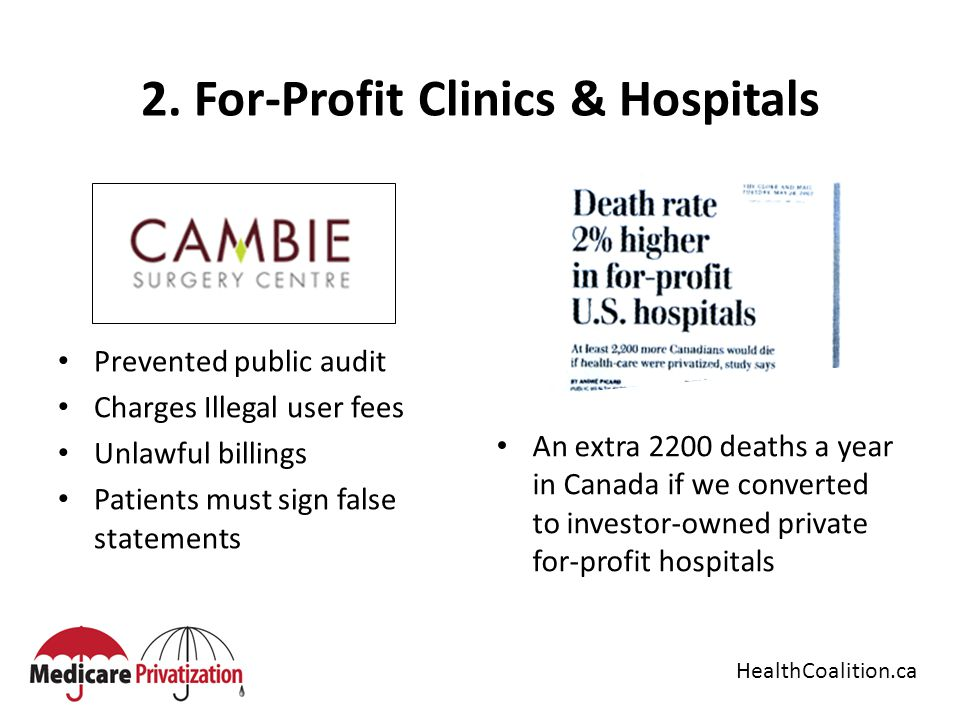2. For-Profit Clinics & Hospitals Prevented public audit Charges Illegal user fees Unlawful billings Patients must sign false statements An extra 2200