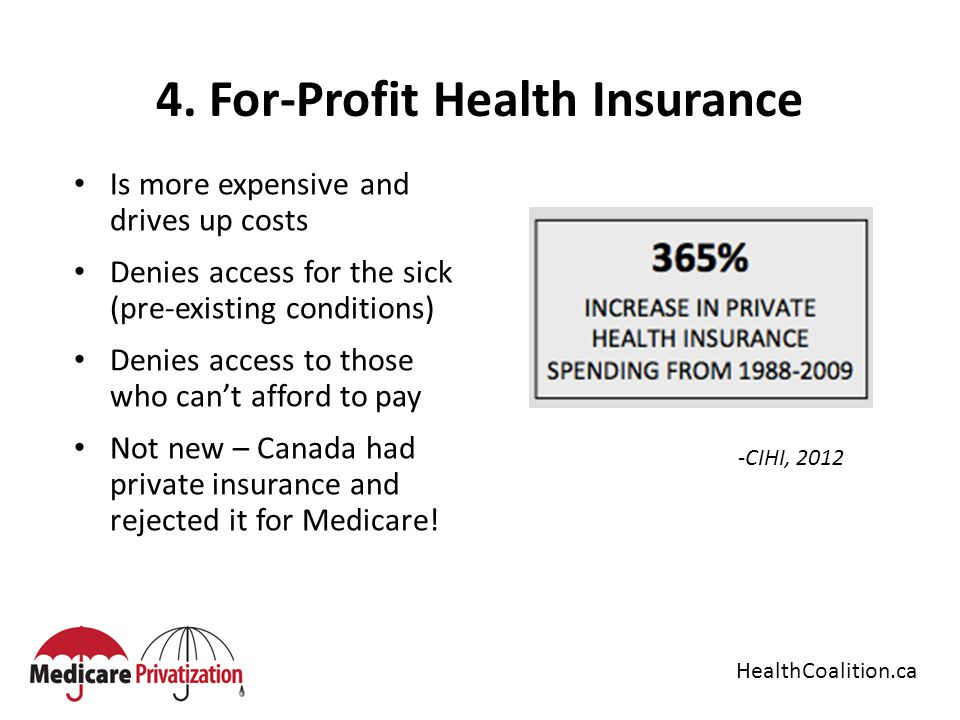4. For-Profit Health Insurance Is more expensive and drives up costs Denies access for the sick (pre-existing conditions) Denies access to those who c