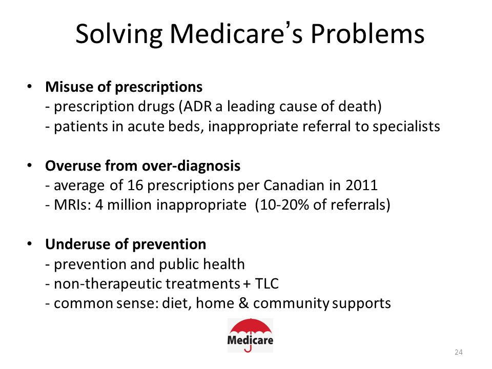 Solving Medicare's Problems Misuse of prescriptions - prescription drugs (ADR a leading cause of death) - patients in acute beds, inappropriate referral to specialists Overuse from over-diagnosis - average of 16 prescriptions per Canadian in 2011 - MRIs: 4 million inappropriate (10-20% of referrals) Underuse of prevention - prevention and public health - non-therapeutic treatments + TLC - common sense: diet, home & community supports 24