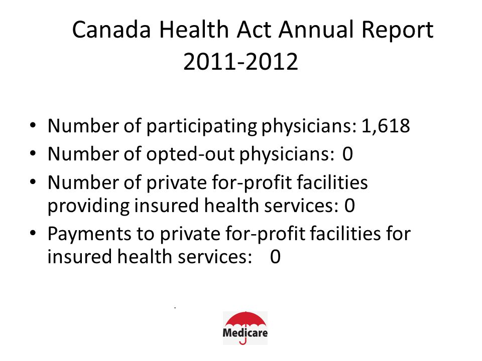 Canada Health Act Annual Report 2011-2012 Number of participating physicians: 1,618 Number of opted-out physicians:0 Number of private for-profit facilities providing insured health services: 0 Payments to private for-profit facilities for insured health services:0.