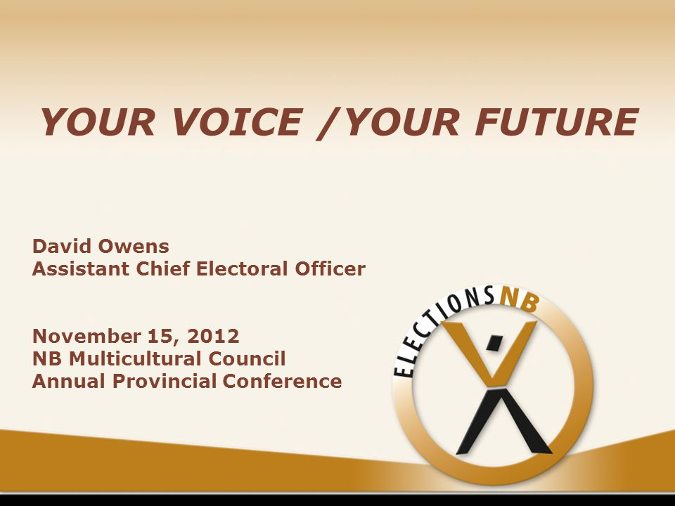 YOUR VOICE /YOUR FUTURE David Owens Assistant Chief Electoral Officer November 15, 2012 NB Multicultural Council Annual Provincial Conference