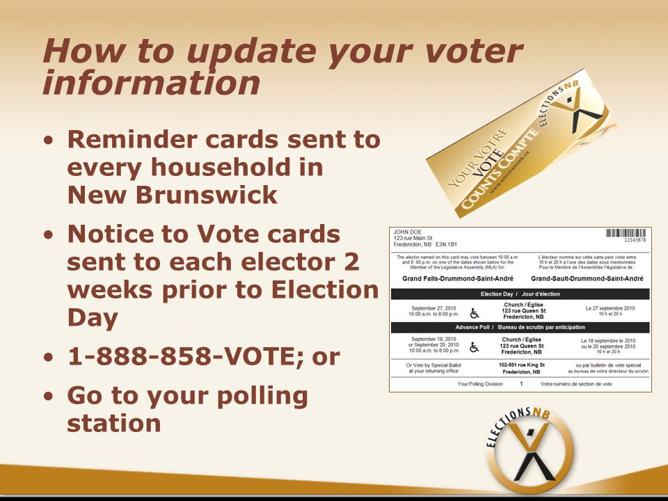 How to update your voter information Reminder cards sent to every household in New Brunswick Notice to Vote cards sent to each elector 2 weeks prior to Election Day 1-888-858-VOTE; or Go to your polling station