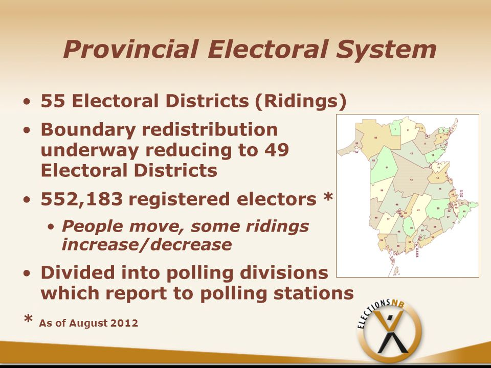 Provincial Electoral System 55 Electoral Districts (Ridings) Boundary redistribution underway reducing to 49 Electoral Districts 552,183 registered electors * People move, some ridings increase/decrease Divided into polling divisions which report to polling stations * As of August 2012