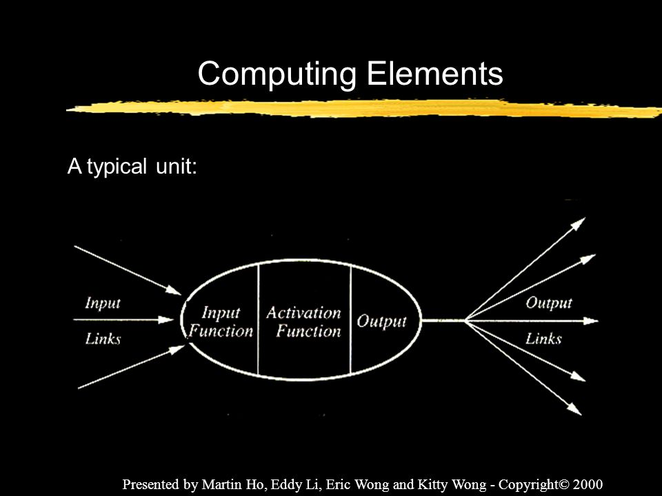 Presented by Martin Ho, Eddy Li, Eric Wong and Kitty Wong - Copyright© 2000 Computing Elements A typical unit: