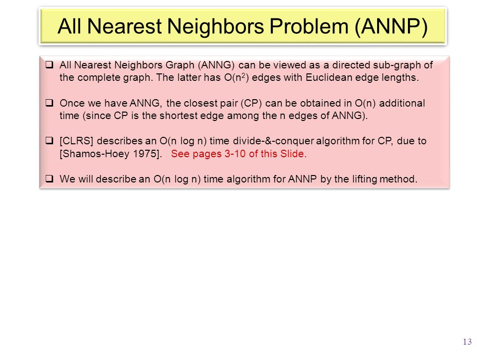  All Nearest Neighbors Graph (ANNG) can be viewed as a directed sub-graph of the complete graph. The latter has O(n 2 ) edges with Euclidean edge len