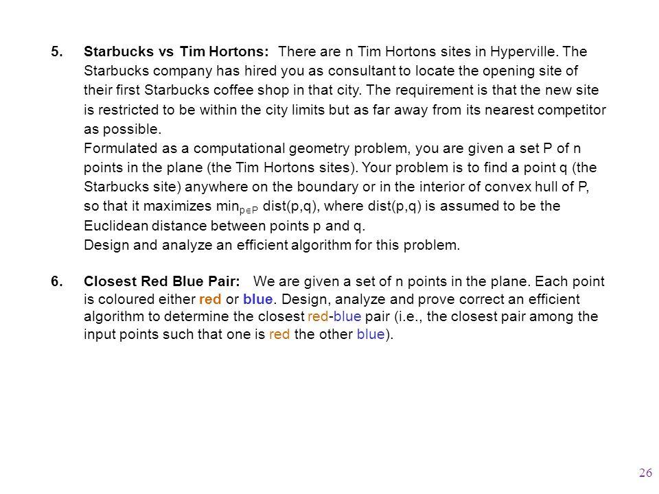 5.Starbucks vs Tim Hortons: There are n Tim Hortons sites in Hyperville.