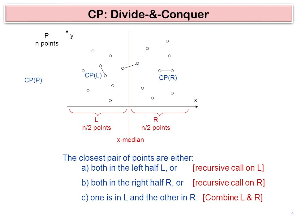 CP: Divide-&-Conquer P n points L n/2 points R n/2 points The closest pair of points are either: a) both in the left half L, or [recursive call on L] b) both in the right half R, or [recursive call on R] c) one is in L and the other in R.
