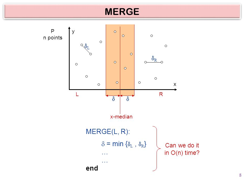  MERGE P n points LR x-median y x LL RR MERGE(L, R):  = min {  L,  R } … … end Can we do it in O(n) time.