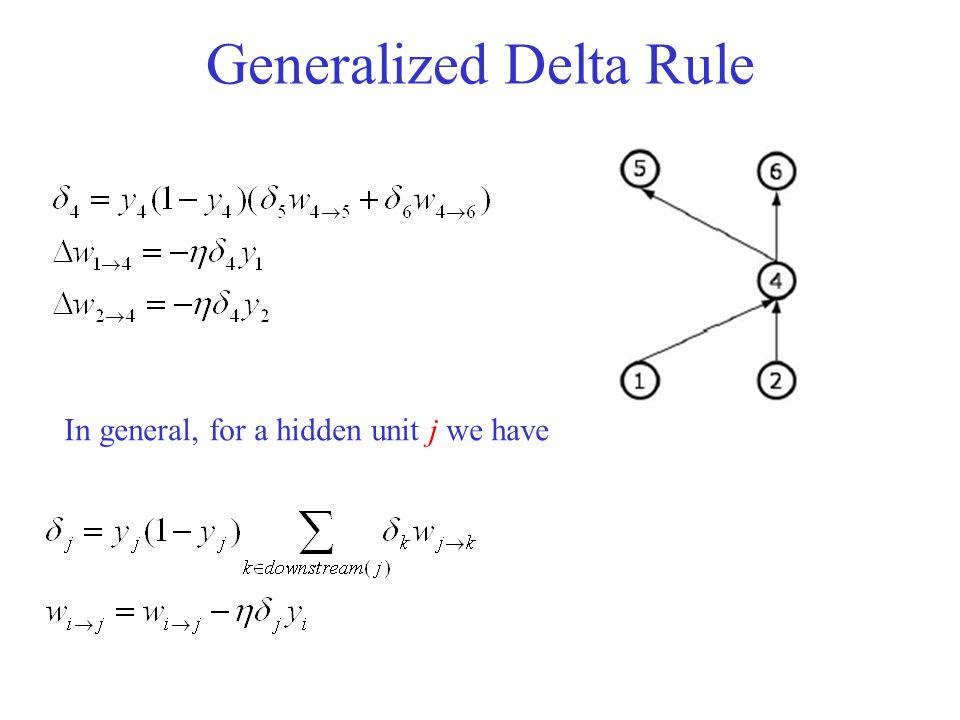 Generalized Delta Rule In general, for a hidden unit j we have