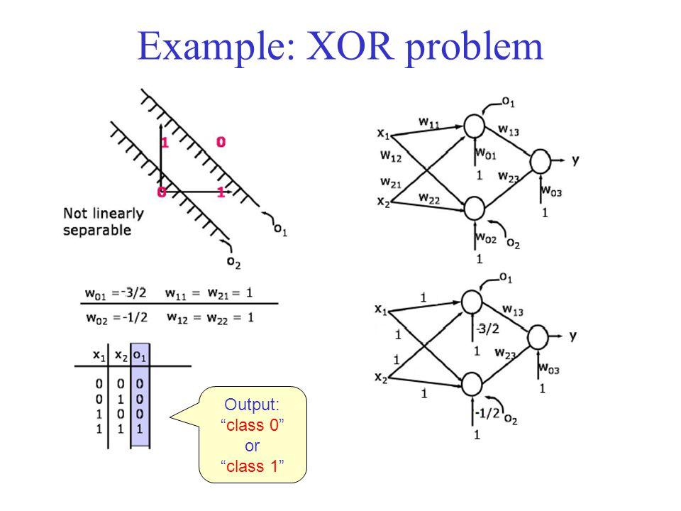 "Example: XOR problem Output: ""class 0"" or ""class 1"""