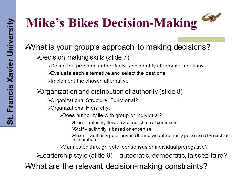 Mike's Bikes Decision-Making St.