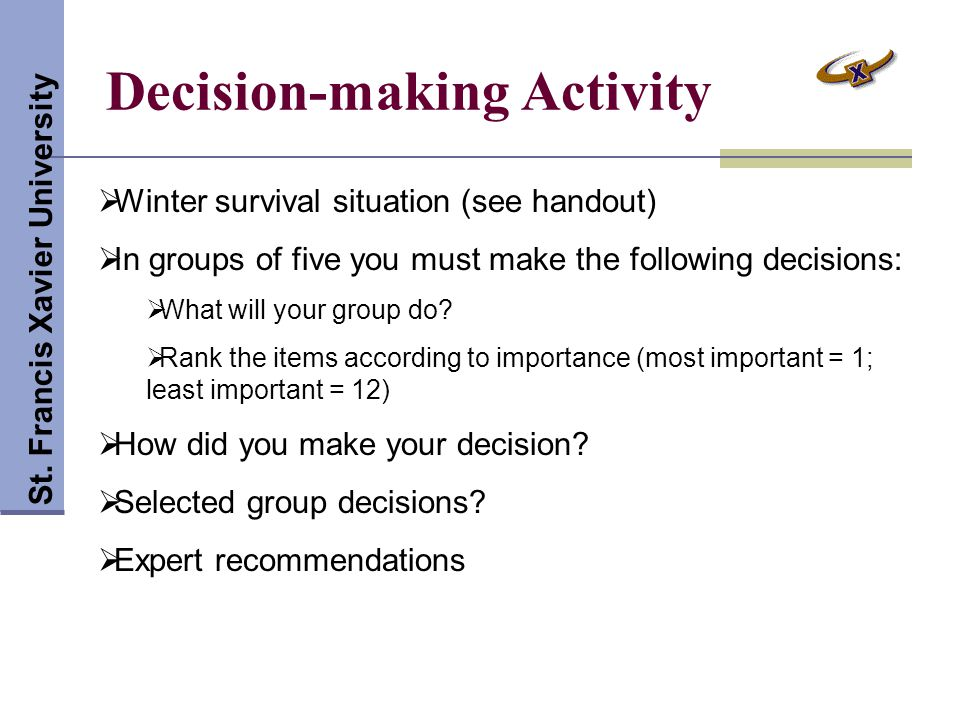 Decision-making Activity St.