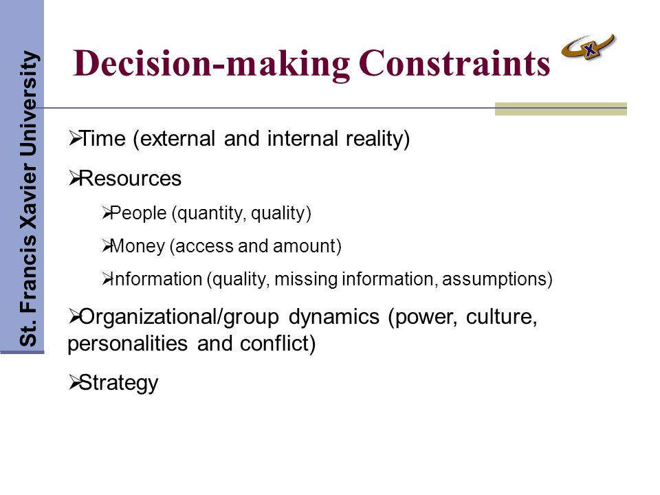 Decision-making Constraints St.